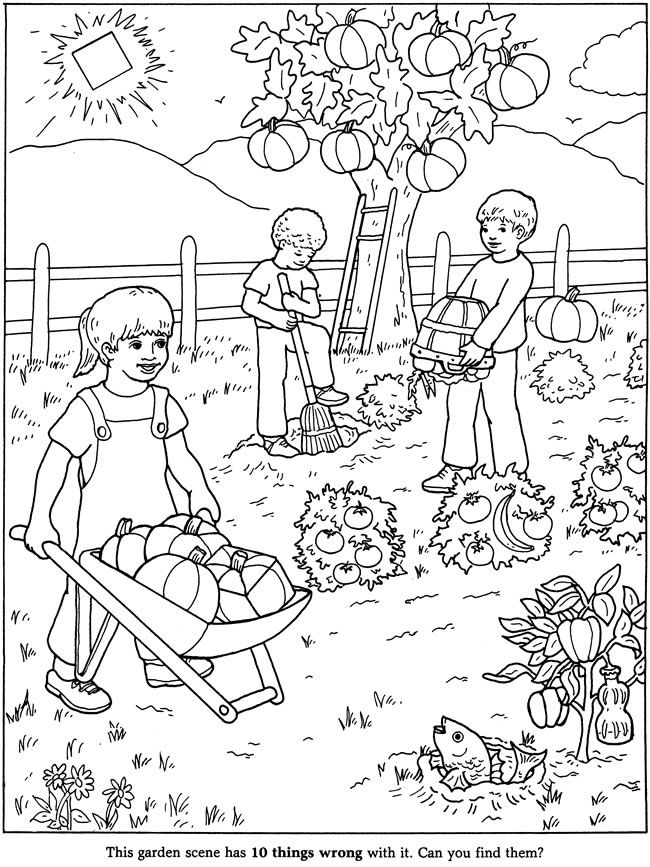 Welcome to Dover Publications / Anna Pomansky's Big Book of Puzzle Fun / Anna Pomansky Coloring Pictures For Kids, Coloring For Kids, Colouring, Coloring Books, Fall Coloring Pages, Adult Coloring Pages, Beginning Sounds Worksheets, Picture Comprehension, Picture Composition